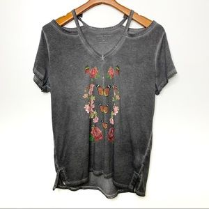LUCKY BRAND Grey Cold Shoulder Floral Tee XL
